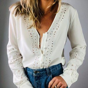 Barth Embroidered Eyelet Blouse